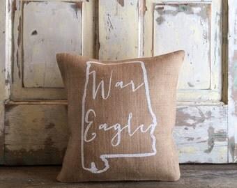 Burlap Pillow- War Eagle pillow | Auburn pillow | Graduation Gift | Mother's Day Gift, Gift for Mom