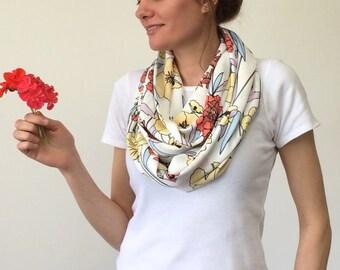 Spring Boho Scarf, Floral Printed Scarf, Wild Flower Scarf, Poppy Scarf, Infinity Scarf, Cotton Circle Scarf, Pastel Loop Scarf, Designscope