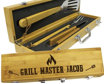 Personalized Gifts For Him Anniversary, Gifts for Husband, Dad Gifts, Boyfriend Gift, Gifts for Men, Dad Gifts From Daughter - BBQ Set