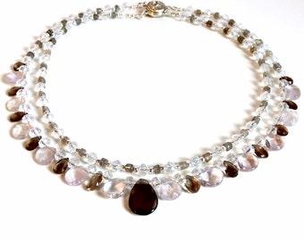 Amethyst Smokey Quartz Tear Drop Double Strand Necklace Dramatic Multi Gemstone Necklace Vintage Style Swarovski Crystal Gemstone Necklace