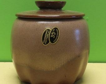 Vintage Frankoma Pottery 35th Anniversary Western Lidded Jar - Matte Finish - Free Shipping