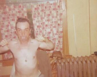 Wacky 1969 Tough Guy Flexes His Muscle Snapshot Photo - Free Shipping