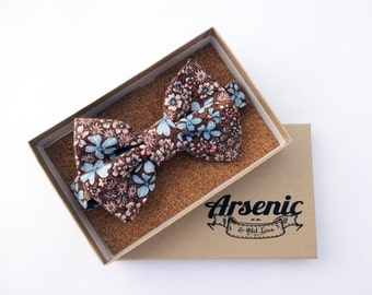 Floral bow tie | brown bow tie | mens bow tie | boys bow tie | toddler bow tie | vintage bow tie | womens bow tie