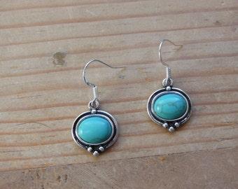 Silver Tone-Earrings-Turquoise Colored Bead-Dangle Earrings-Gift for Her-Friend-Birthday-Native American-Boho