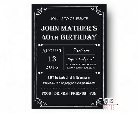 40th birthday invitation for men printable milestone, Birthday invitations