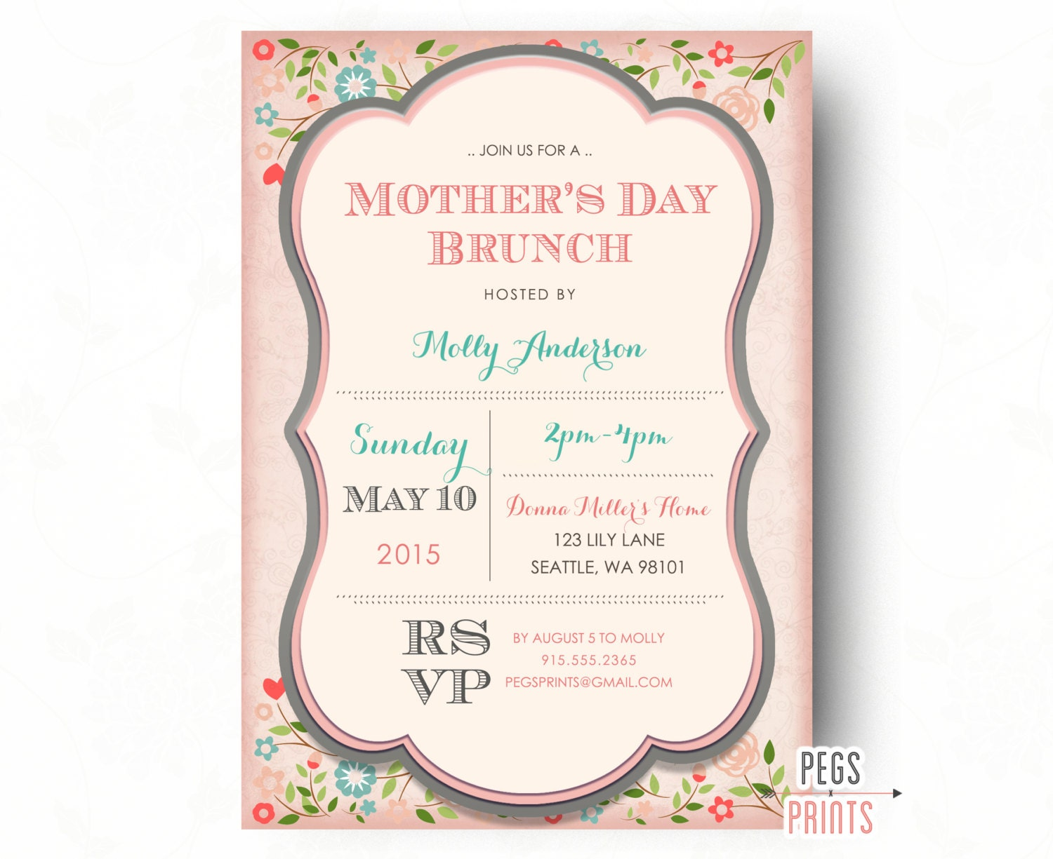 mothers day brunch invitation printable mothers by pegsprints. Black Bedroom Furniture Sets. Home Design Ideas
