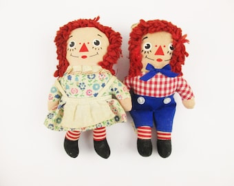 """Vintage 'Knickerbocker' Raggedy Ann and Andy 7"""" Dolls - Knickerbocker, New Jersey - Made in Taiwan, Republic of China - Raggedy Collectors"""