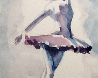 "Watercolor Paintings Original  ""Prima Dona"", 5x7  in,  free shipping in North America and UK!!!"