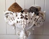 1800s antique alabaster compote, 19th century antique carved alabaster pedestal dish