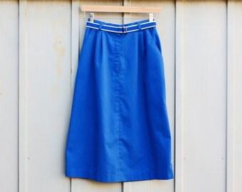 Blue Nautical Skirt - Retro Mod Skirt - Long Pin Up Skirt - Classic 60s Skirt - Vintage Hipster Skirt - Rockabilly Skirt - Blue Cotton Skirt