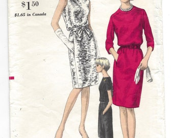 1960s Vogue #6814, One Piece Dress, Blouson Bodice, Slim Skirt, Sewing Pattern, Size 12, Bust 32
