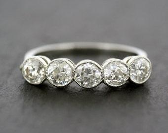 Antique Diamond Ring - Edwardian Five-stone Diamond & Platinum Anniversary Ring - Antique Eternity Ring