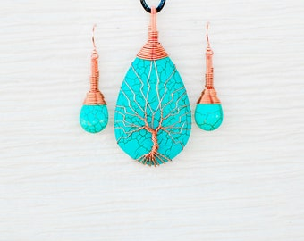 Tree of Life copper wire wrapped Turquoise pendant and matching earrings