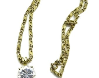 Rhinestone Pendant Necklace, Vintage Gold Tone Chain Link Necklace