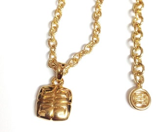 Givenchy Gold Tone Chain Necklace Double G Logo Pendant with Lobster Claw Closure