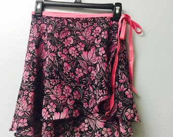 Black and pink floral ballet wrap skirt-  Long