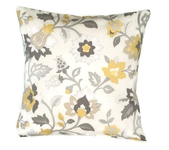 Soft Yellow Decorative Pillows : Decorative Pillow Cover Throw Pillow Cover Soft Yellow Grey