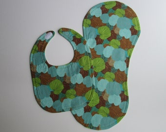 SALE - Blue Leaf Set - Bib and Burp Cloth - Reversible - Blue, Green, and Brown