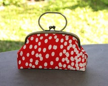 Kimono bag/Red polka dot/ Cluth with ring/ Antique Gold frame/ hand made