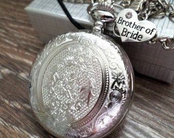 Brother of Bride Pocket Watch Personalized Quartz and Chain Brother of Bride Gift Idea Wedding Party Gift Ships to US and Canada SLEQ