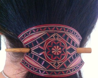 Mini carved leather hair barrette - Geometric design hair barrette - pony tail holder