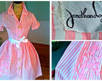 Sale 50's Pin up Dress / Stripes / Rockabilly / Garden Party / Tea Party / Full Sweep Skirt / Patio dress / Cotton/ Picnic/ Medium
