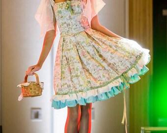 Onigiri Sweet Country Lolita Dress with Flowy sleeves