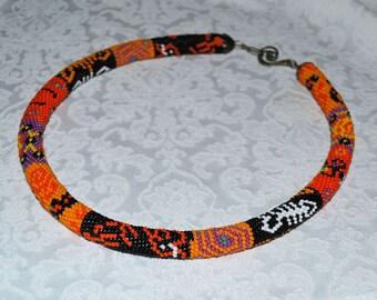 Crochet Orange necklace Seed bead rope Beaded crochet rope necklace Beaded Crochet necklace