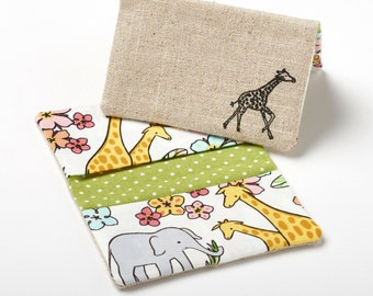 Giraffe Wallet, Slim Card Holder, Small Business Card Case - Safari Animals - Giraffe Gift