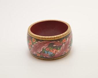 Wooden flower bracelet, flower bangle, wooden bangle, dark red bracelet, borgundi bracelet, decoupage bracelet, decoupage bangle