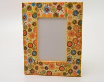 Wooden photo frame, decoupage photo frame, multicolor photo frame, colorful photo frame, shabby chic, shabby chic frame, piture frame