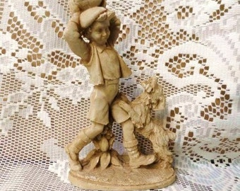 Boy Playing Ball with His Dog Figurine-Puppy Jumping-Shorts-Shoes-Cap-Pets-Children Statue-Vintage Home Decor--Orphaned Treasure-090216D