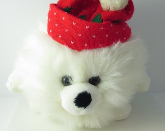 Christmas Snoball White Furball Cute Plush Stuffed Toy Red Green Knit Hat 1980s - 8 Inches