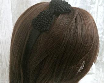 Black Bow Headband, Pin Up Headband, Retro Headband, Bow Headband Adult, Alice Band, Bridesmaid Headband, Head Band, Rockabilly Headband