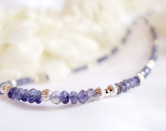 Natural Faceted Kyanite Necklace with 925 sterling silver *Free worldwide shipping*