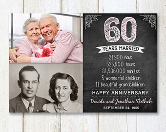60th anniversary gift for wife husband or best friends - 60th anniversary parents gift - chalkboard sign photo collage - DIGITAL FILE!