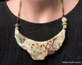 Soochow necklace, raw ceramic jewelry, handmade rustic assemblage necklace with artist beads, unique OOAK