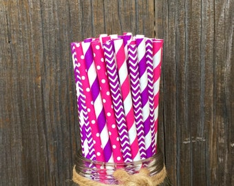 100 Pink and Purple Stripe, Chevron and Polka Dot Paper Straws  -- Birthday, Princess, Baby Shower Supply-- Free Shipping!