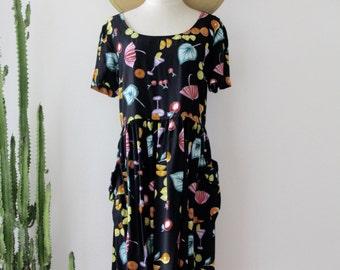 90s Fruit dress. Drop waist dress. Cocktail dress. Black drop waist party dress. Festival summer dress. Size M