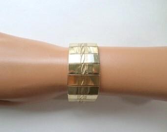 Wide Gold Bracelet Mesh Bracelet Gold Cuff Bracelet Extra Wide Engraved Gold Link Bracelet Vintage Gold Mesh Bracelet Jewelry