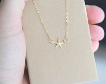 Gold Star Fish Necklace, Tiny Gold Star Fish necklace, Star Fish Necklace, Star Fish,Gold Necklace, Bar Necklace, Bridesmaid Gift