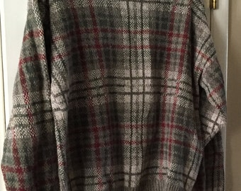 Mens Gray Burgundy XL Sweater Crewneck Liberty by Exacta Checkered Pullover