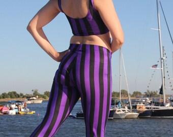 Purple Striped Steampunk Leggings // Pirate Pants // Circus leggings // Renaissance leggings