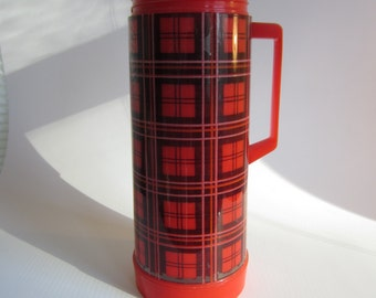 Vintage Red Plaid Plastic Aladdin Thermos with Glass Lining - Missing Cup