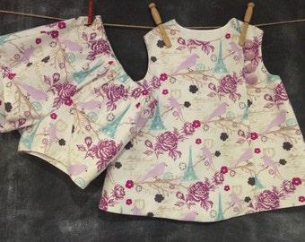 Toddler Sun Dress With Matching Shorts, Baby Swing Wrap Dress, Girls Paris Eiffel Tower Wrap Dress, Toddler Summer Swing Dress, Size 2T/3T