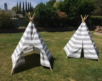 Childs Tee Pee, Toddler Teepee, Gray, Royal, or Orange Cabana Stripe Canvas Kid's Tee Pee, Child's Indoor/Outdoor TeePee Tent, Wood Poles