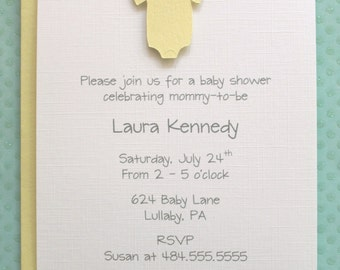 Gender Neutral Baby Yellow Onesie Baby Shower Invitations - Yellow One Piece Outfit Shower Invitations - Set of 10 Invites