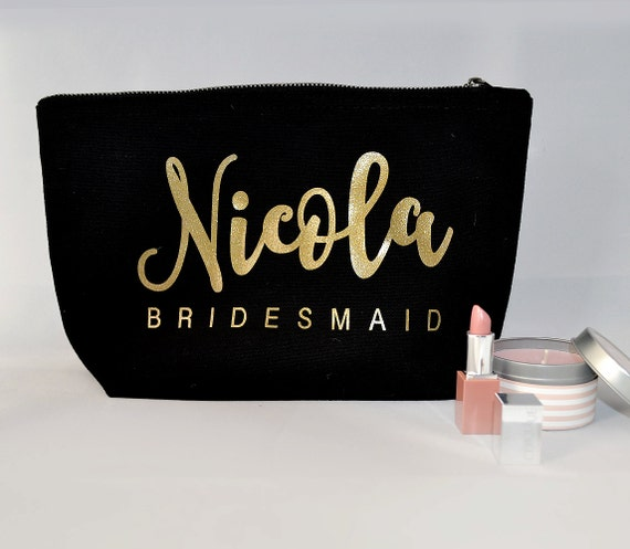 Black personalised modern calligraphy bridesmaid gift make up