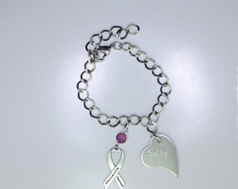 Personalized Dementia Awareness Ribbon Bracelet - Dementia Support Jewelry - Heart Charm with Your Personalized Message