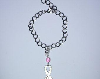 Hope Awareness Ribbon Bracelet - Hope Cancer Support, Survivor, Memorial Jewelry